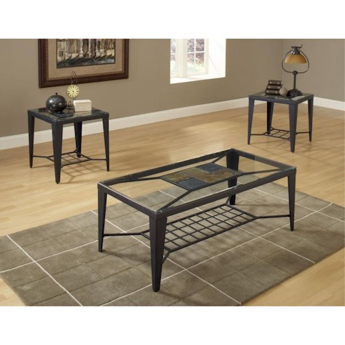 Bernards Diamond Tile Occasional Table Group with 1 Coffee Table and 2 Side Tables with Tile and Glass Tops