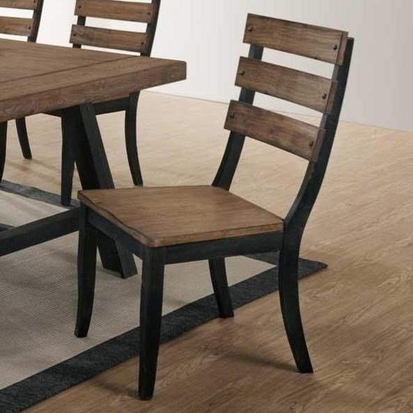 Halsey slat back side chair with solid rubberwood seat by bernards