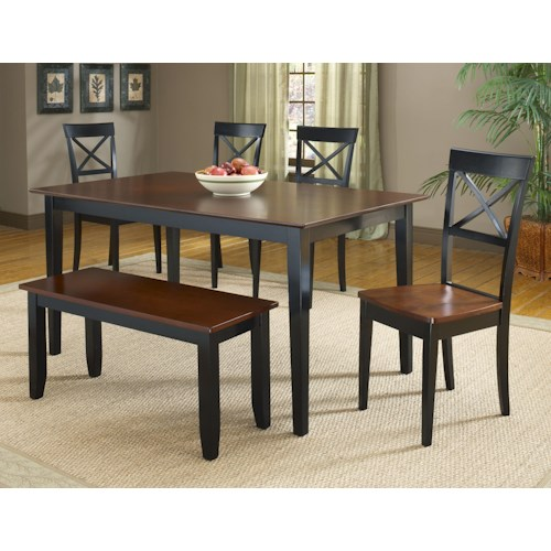 Bernards Jaguar 6-Piece Black/Merlot Dinette Table Set with Bench