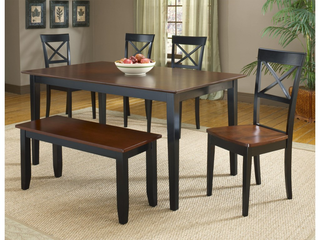 4 Side Chairs Shown with Dinette Table and Bench