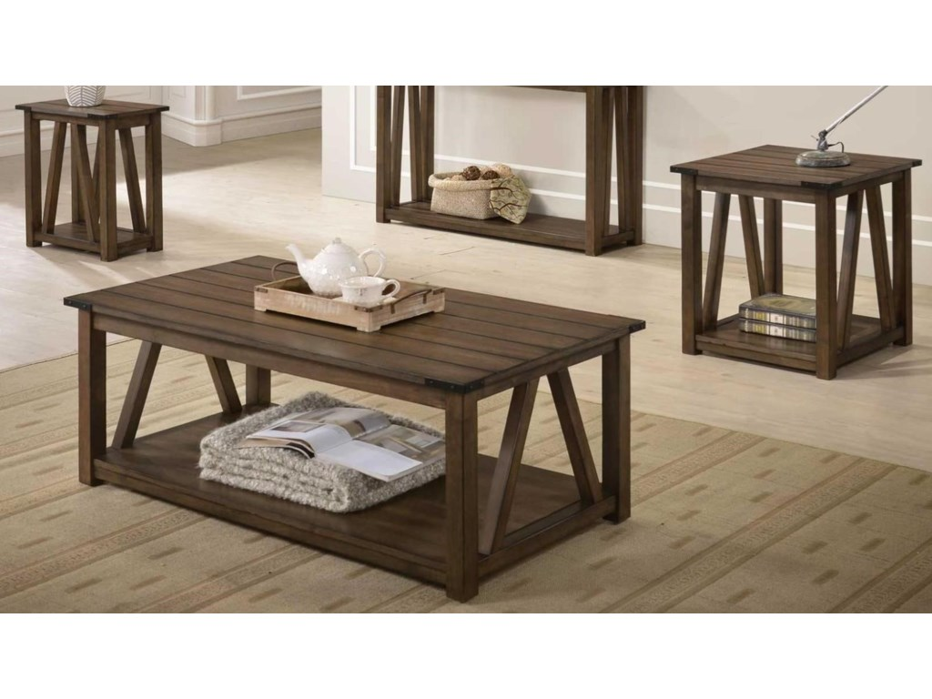 Bernards Jalen 3 Piece Occasional Table Set With Plank Look Tops
