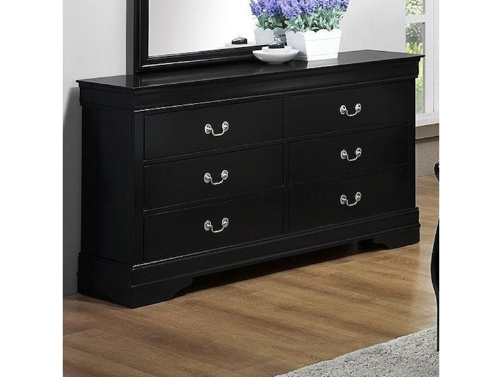 Bernards jet 1943 louis philippe dresser in black finish corner furniture dressers
