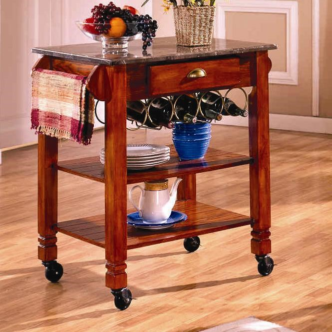 Charmant Bernards Kitchen Carts Caster Kitchen Island With Marble Top