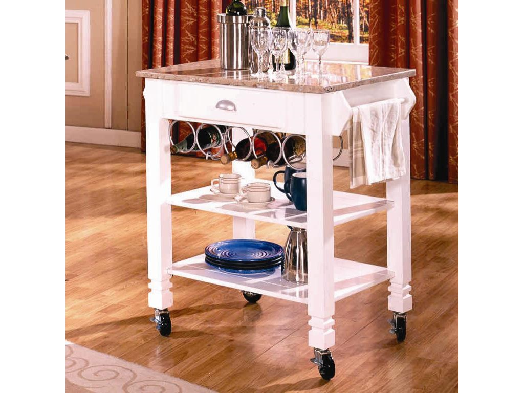 Bernards Kitchen Cartscaster Island With Marble Top