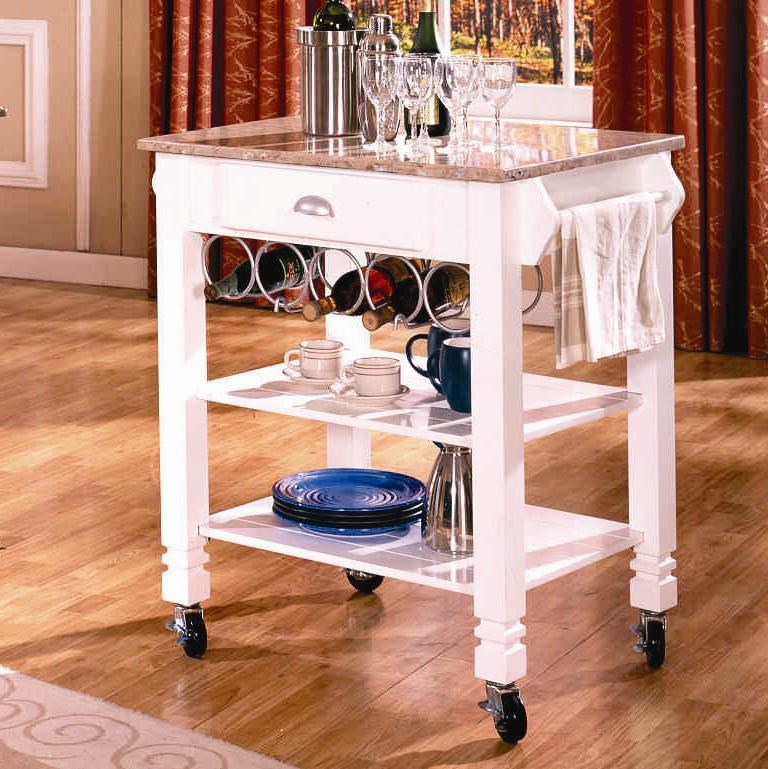 Attrayant Bernards Kitchen Carts Caster Kitchen Island With Marble Top