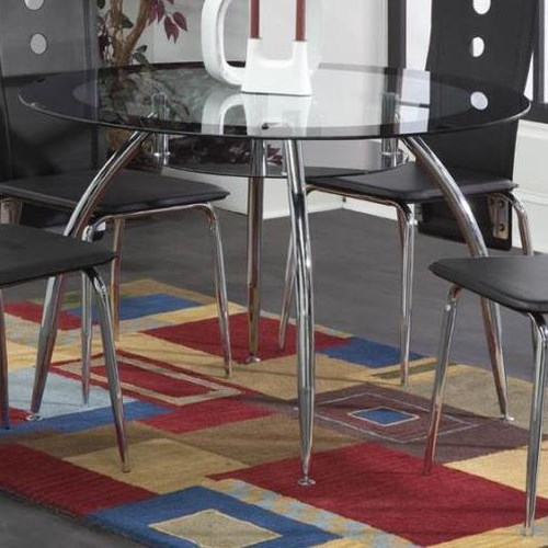 Bernards Lunar Contemporary Black / Chrome Dinette Table with Glass Top and Shelf