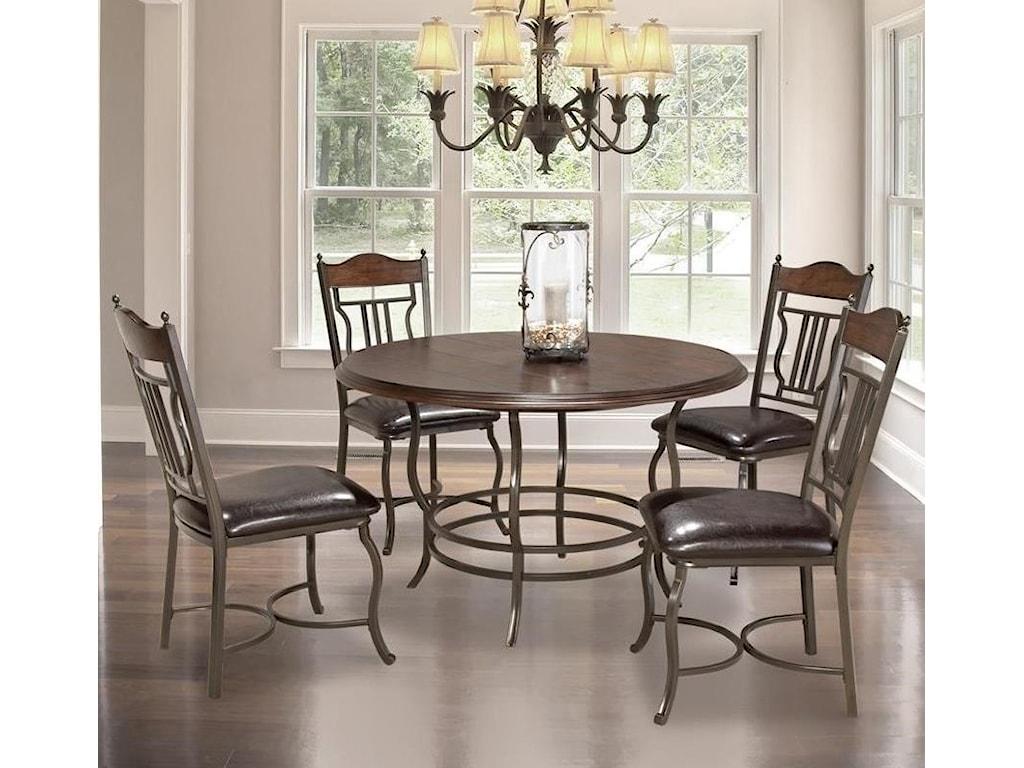 Bernards Midland 5-Piece Metal/Wood Round Dining Table Set | Royal ...