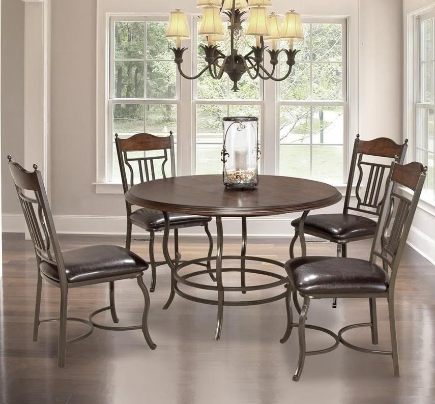 Bernards Midland5 Piece Round Dining Table Set ...