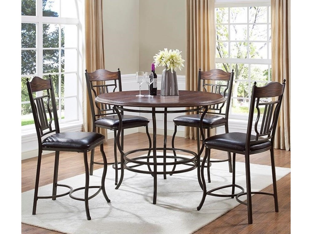 Bernards Midland 5-Piece Metal/Wood Round Counter Dining Table Set ...