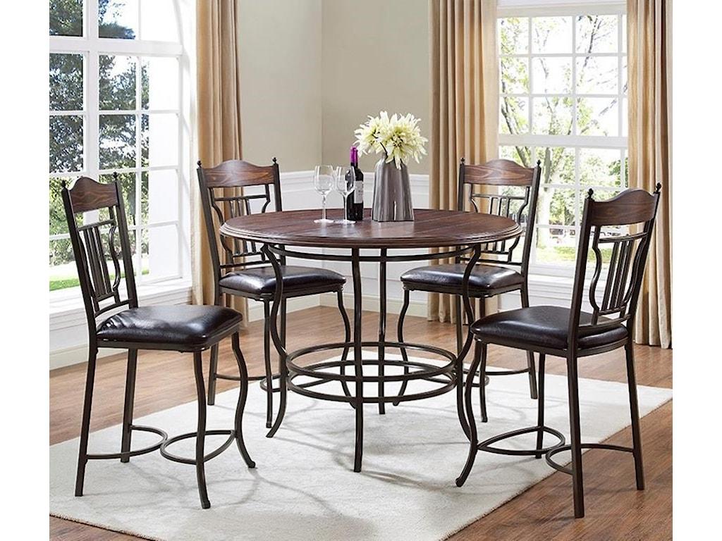 Bernards Midland 5-Piece Metal/Wood Round Counter Dining Table Set ...