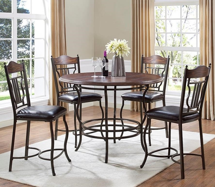 Bernards Midland5 Piece Round Counter Dining Table Set ...