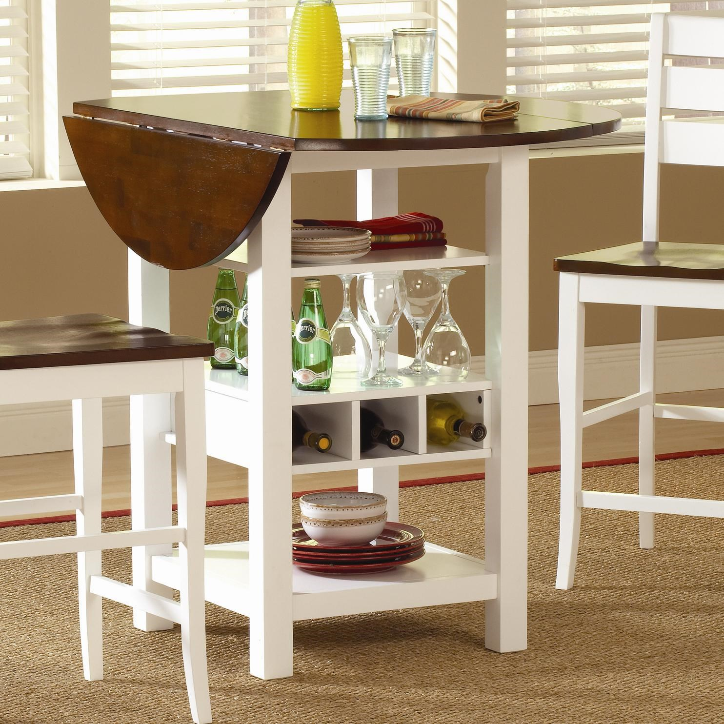 Gentil Bernards Ridgewood Drop Leaf Pub Table With Wine Rack