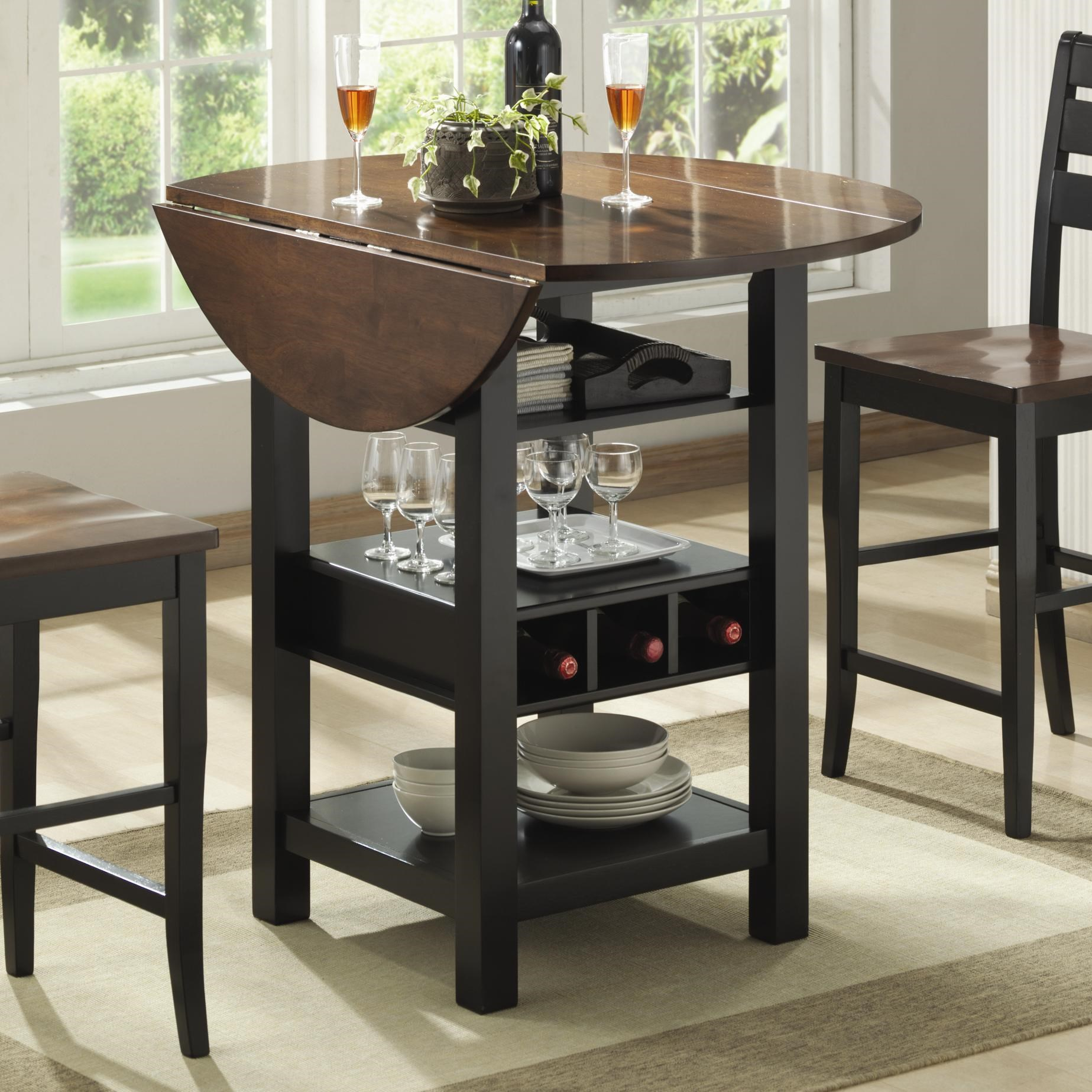 bernards ridgewood drop leaf pub table with wine rack - Wine Rack Table
