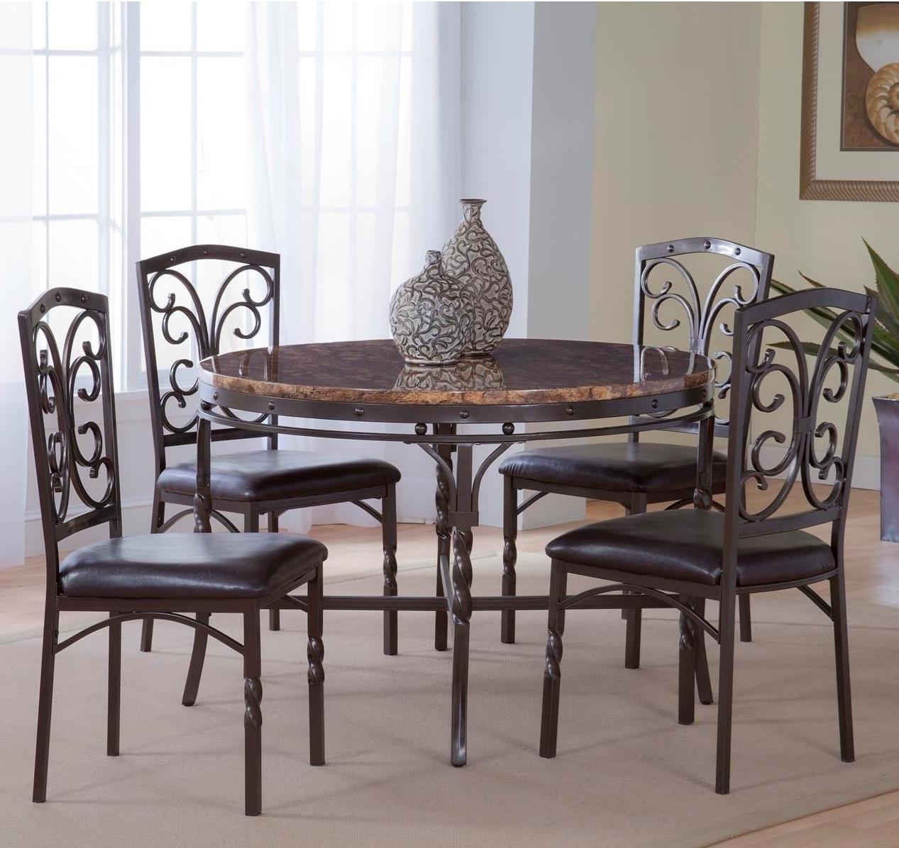 Bernards Tuscan -Piece MetalFaux Marble Dinette Table Set