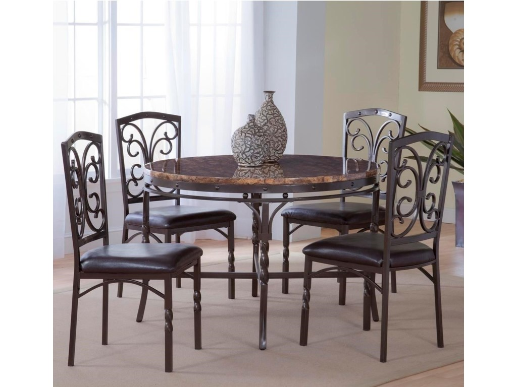 Bernards Tuscan 5-Piece Metal/Faux Marble Dinette Table Set | Royal ...