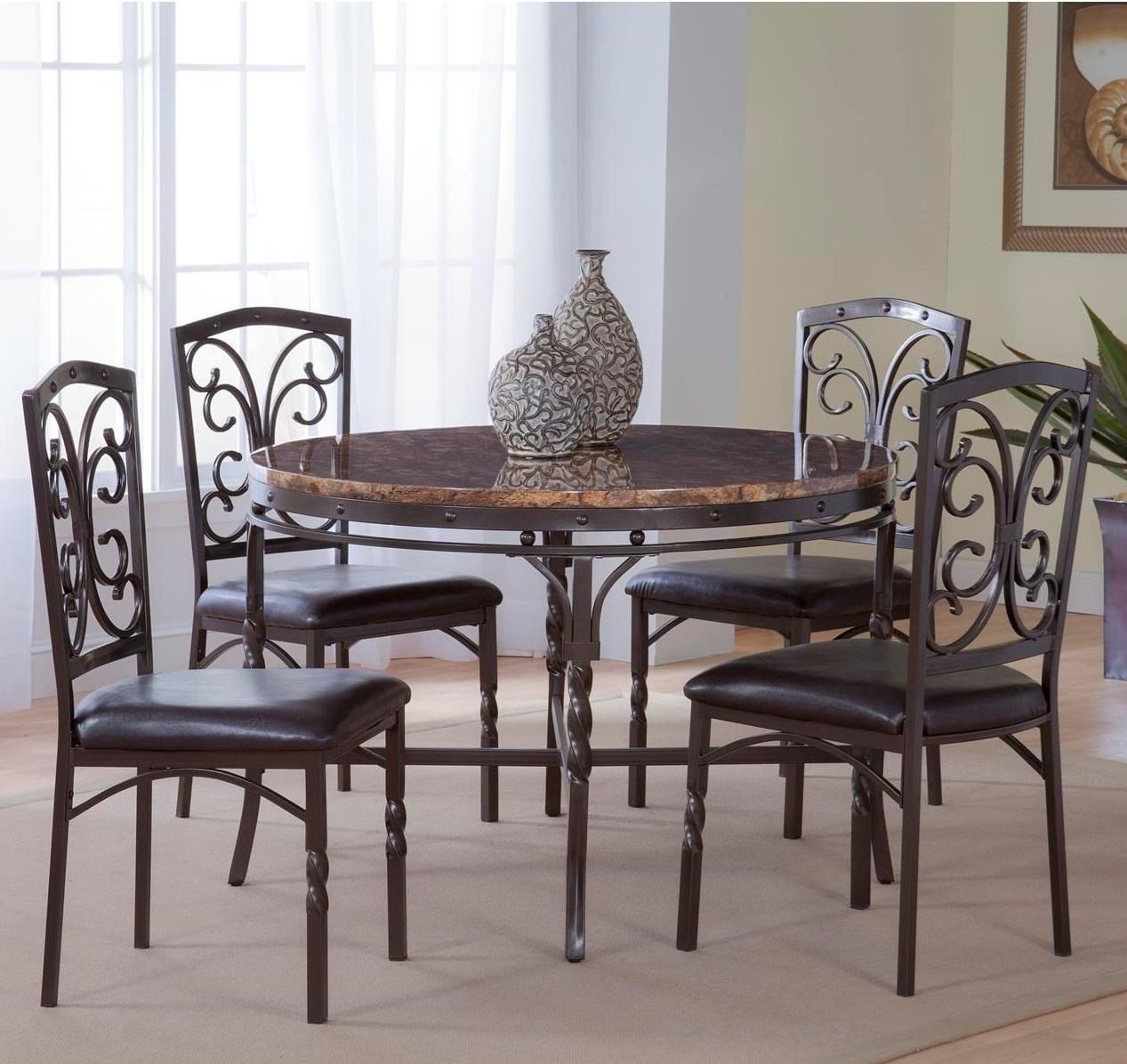 Bernards Tuscan 5 Piece Metal/Faux Marble Dinette Table Set