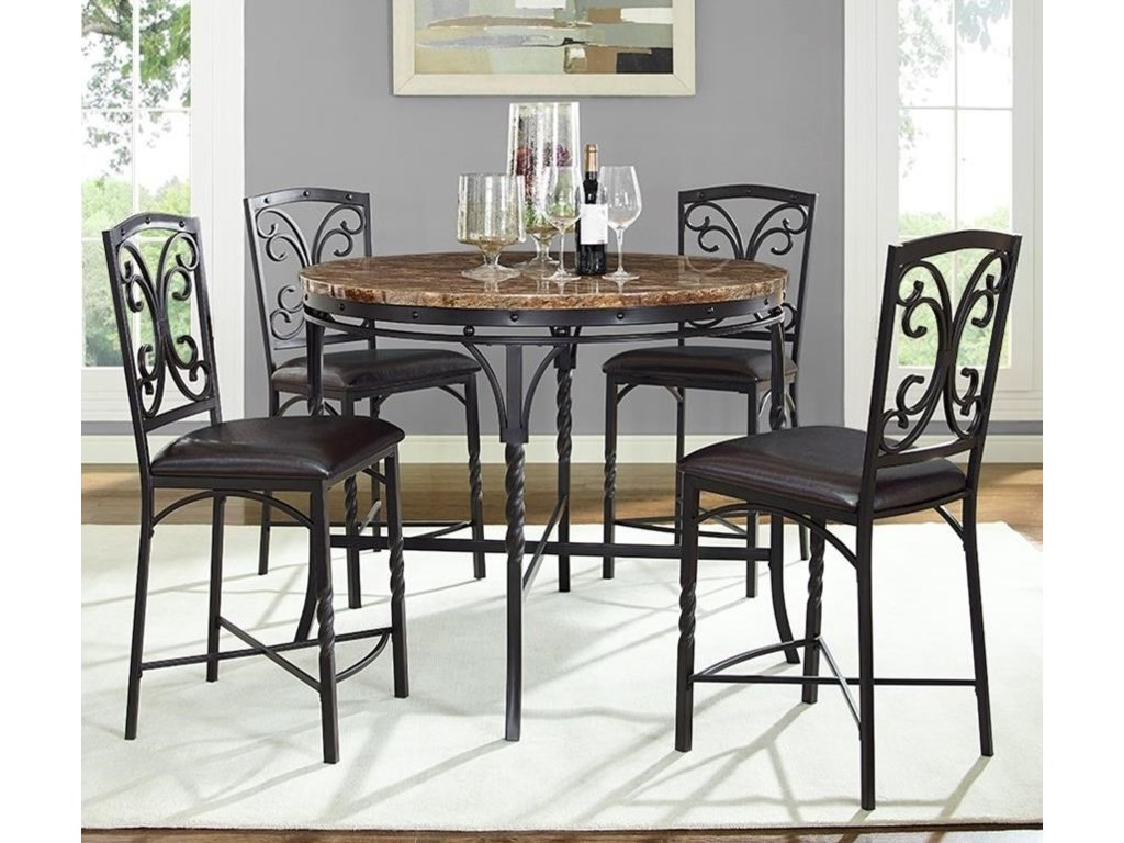 Bernards Tuscan 5 Piece Round Counter Table With Faux Marble Top Set
