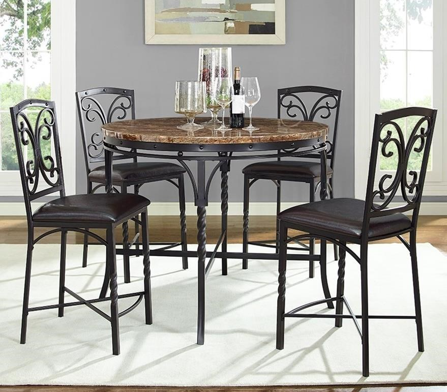 Tuscan 5 Piece Round Counter Table With Faux Marble Top Set