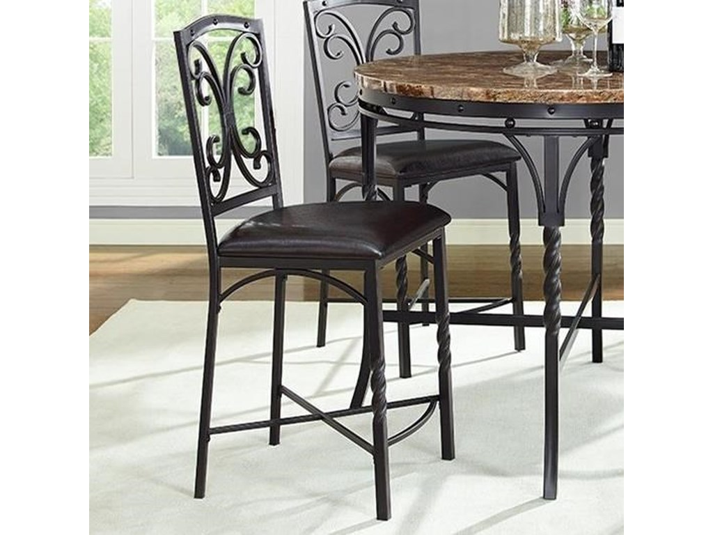 Tuscan Metal Counter Stool With Scroll Detail