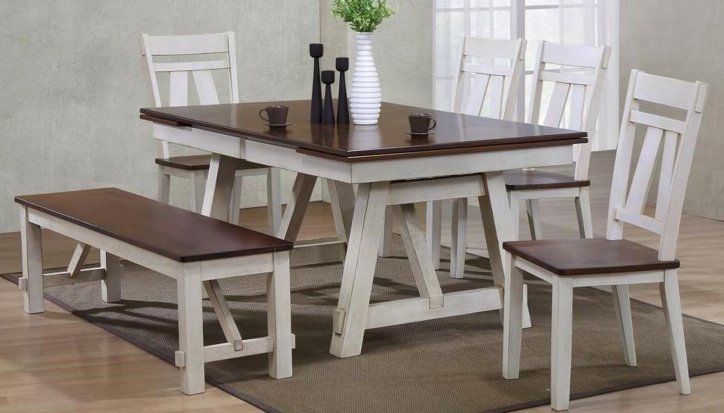 Winslow 6 Piece Two Tone Refectory Table Set With Bench   Miskelly Furniture    Table U0026 Chair Set With Bench