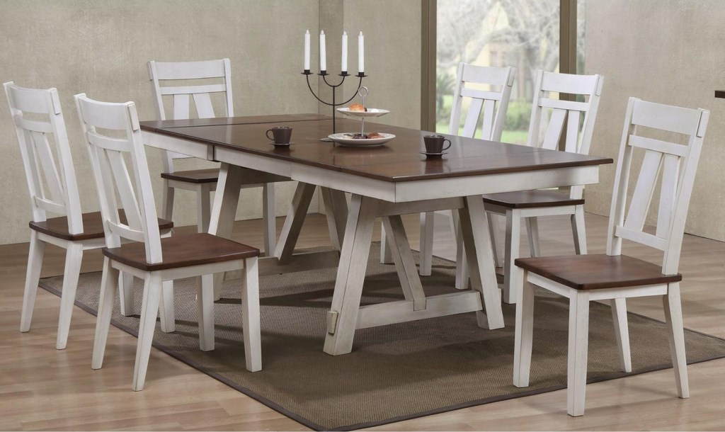 bernards winslow 7-piece two-tone refectory table set - royal