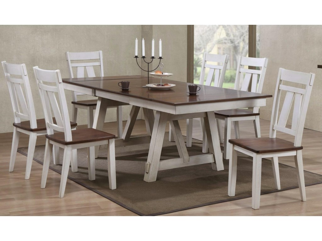 Winslow 7 Piece Two Tone Refectory Table Set By Bernards At Royal Furniture
