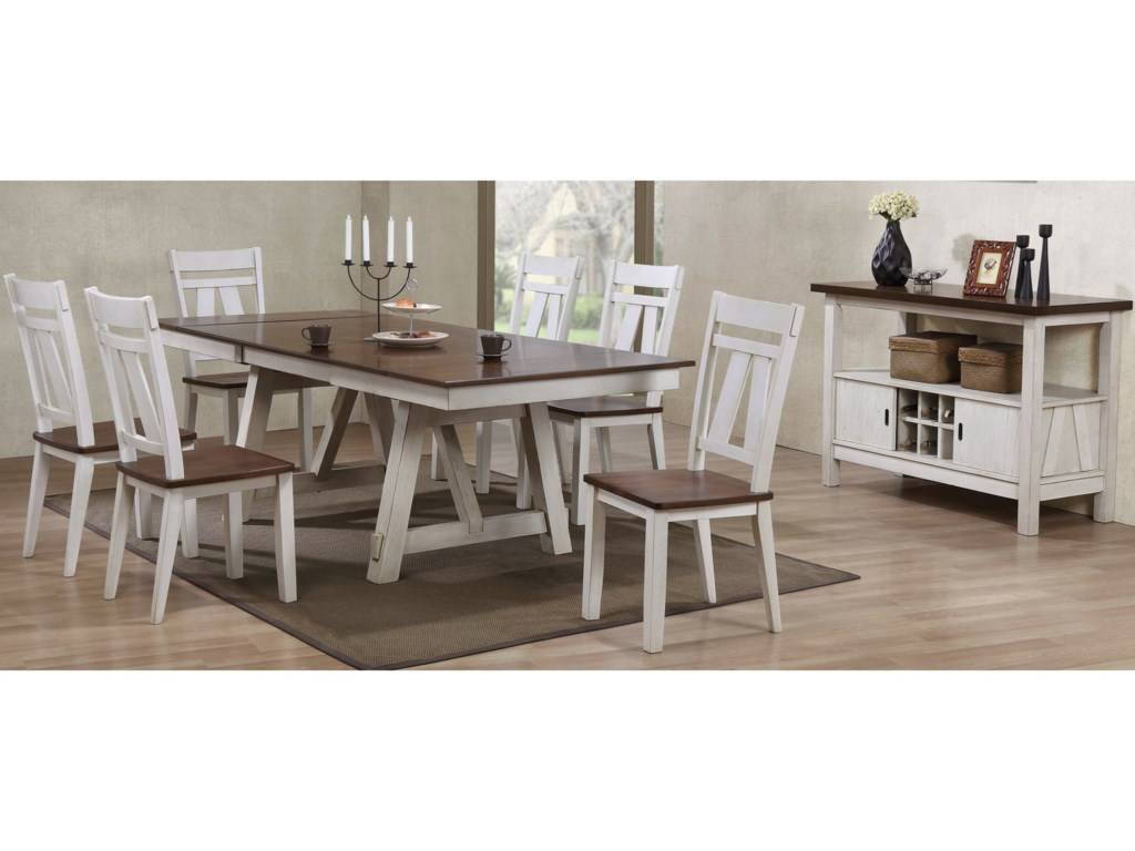 item two tone kitchen table Bernards Winslow 7 Piece Two Tone Refectory Table Set Miskelly Furniture Dining 7 or more Piece Sets
