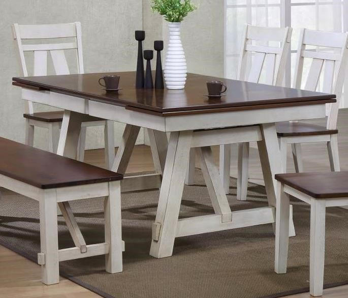 Winslow Two Tone Refectory Rectangular Dining Table W Self Storing Leaves