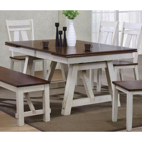 Bernards Winslow Refectory Rectangular Dining Table W Self Storing Leaves