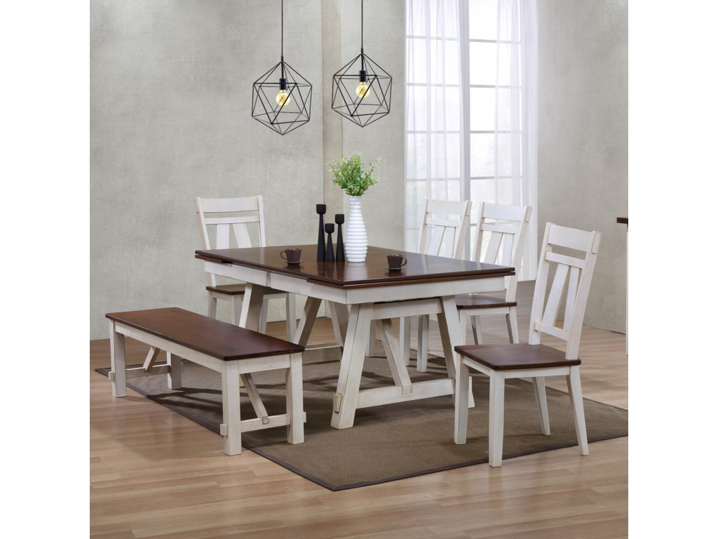 Bernards Winslow 6 Piece Two Tone Refectory Table Set With Bench Wayside Furniture Table Chair Set With Bench