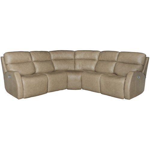 Bernhardt Aaron Leather Contemporary Power Motion Sectional with Dual Reclining Lay-Flat Love Seats
