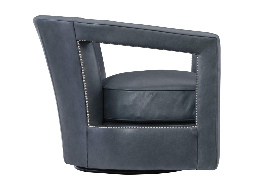 Bernhardt AlanaContemporary Swivel Chair with Nailheads