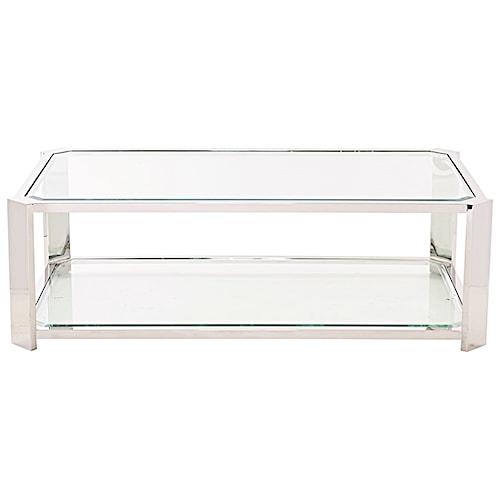 Bernhardt Allegra Metal Cocktail Table with Glass Shelf