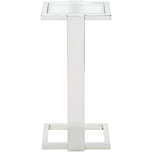 Bernhardt Allegra Metal Square Drink Table with Stainless Steel Frame