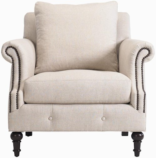 Bernhardt Interiors - Angelica Upholstered Chair with Rolled Arms and Nailhead Trim