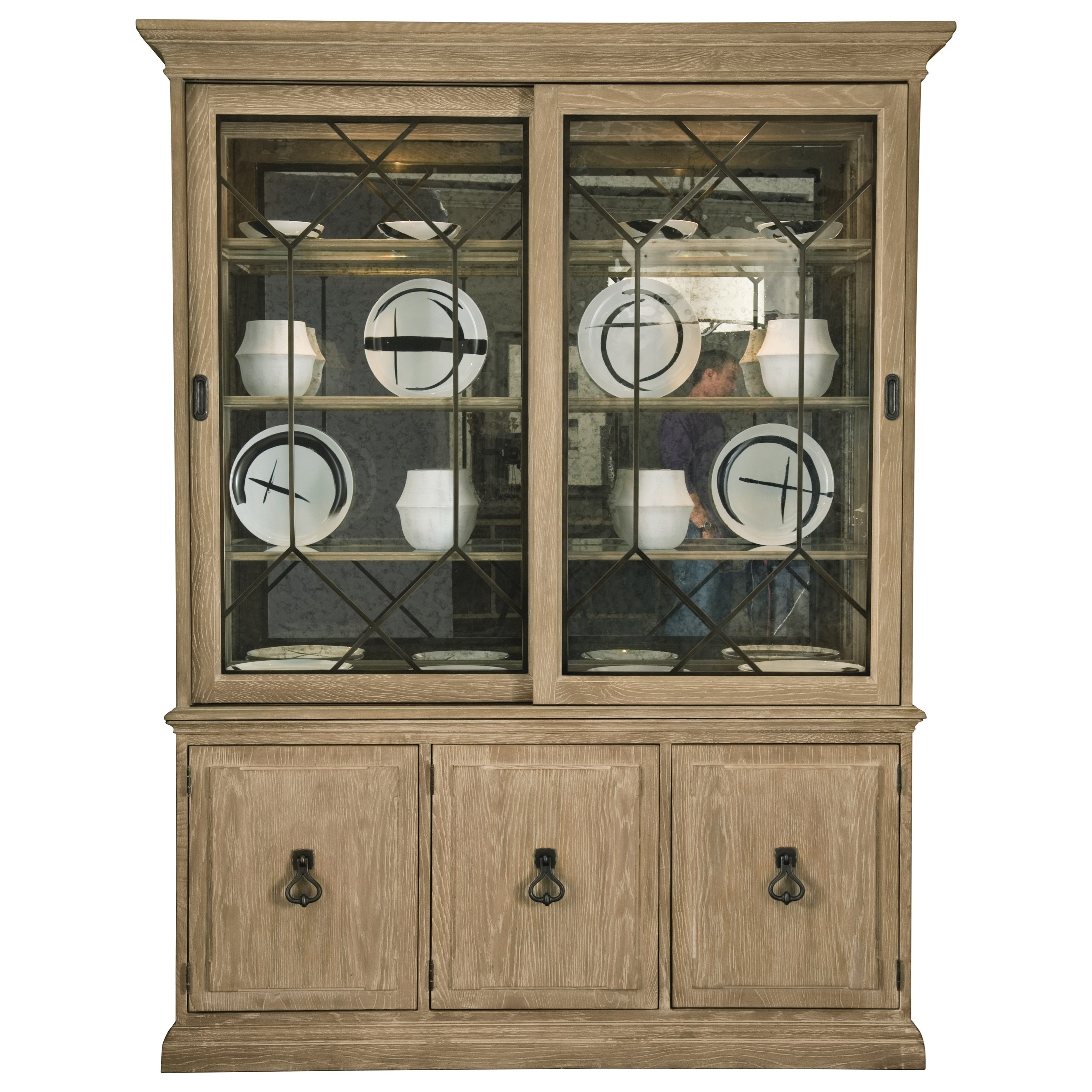 Bernhardt Antiquarian China Cabinet With Seeded Glass Sliding Doors