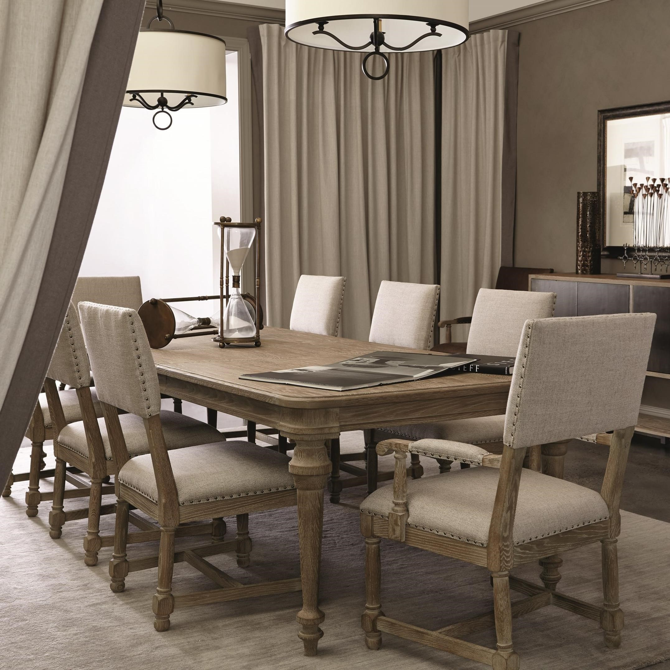 Bernhardt Antiquarian 9 Piece Dining Set With Upholstered Chairs