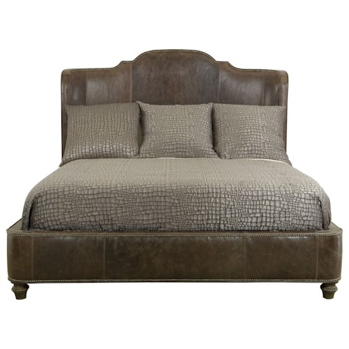 Bernhardt Antiquarian King Leather Upholstered Bed