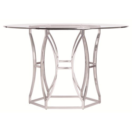 Bernhardt Argent  Modern Round Dining Table with Metal Base and Glass Top