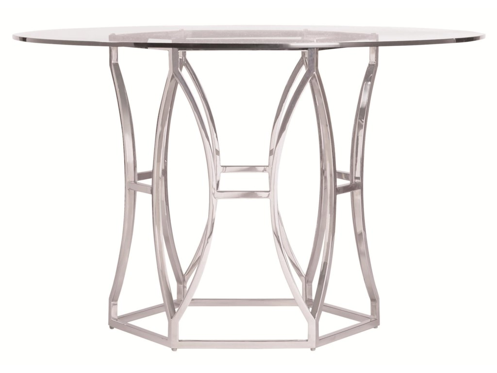 Bernhardt Argent Modern Round Dining Table with Metal Base and