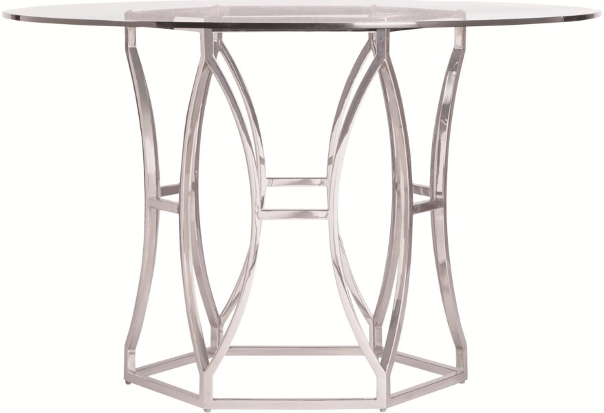 Bernhardt Argent Modern Round Dining Table with Metal Base ...