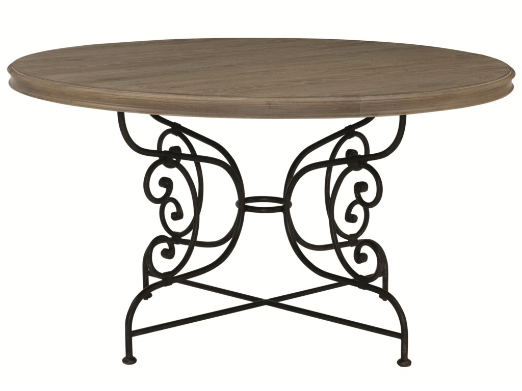 Bernhardt AubergeRound Dining Table with Metal Base