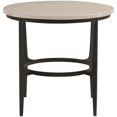 Bernhardt Avondale Contemporary Round Metal End Table With Ceramic Top
