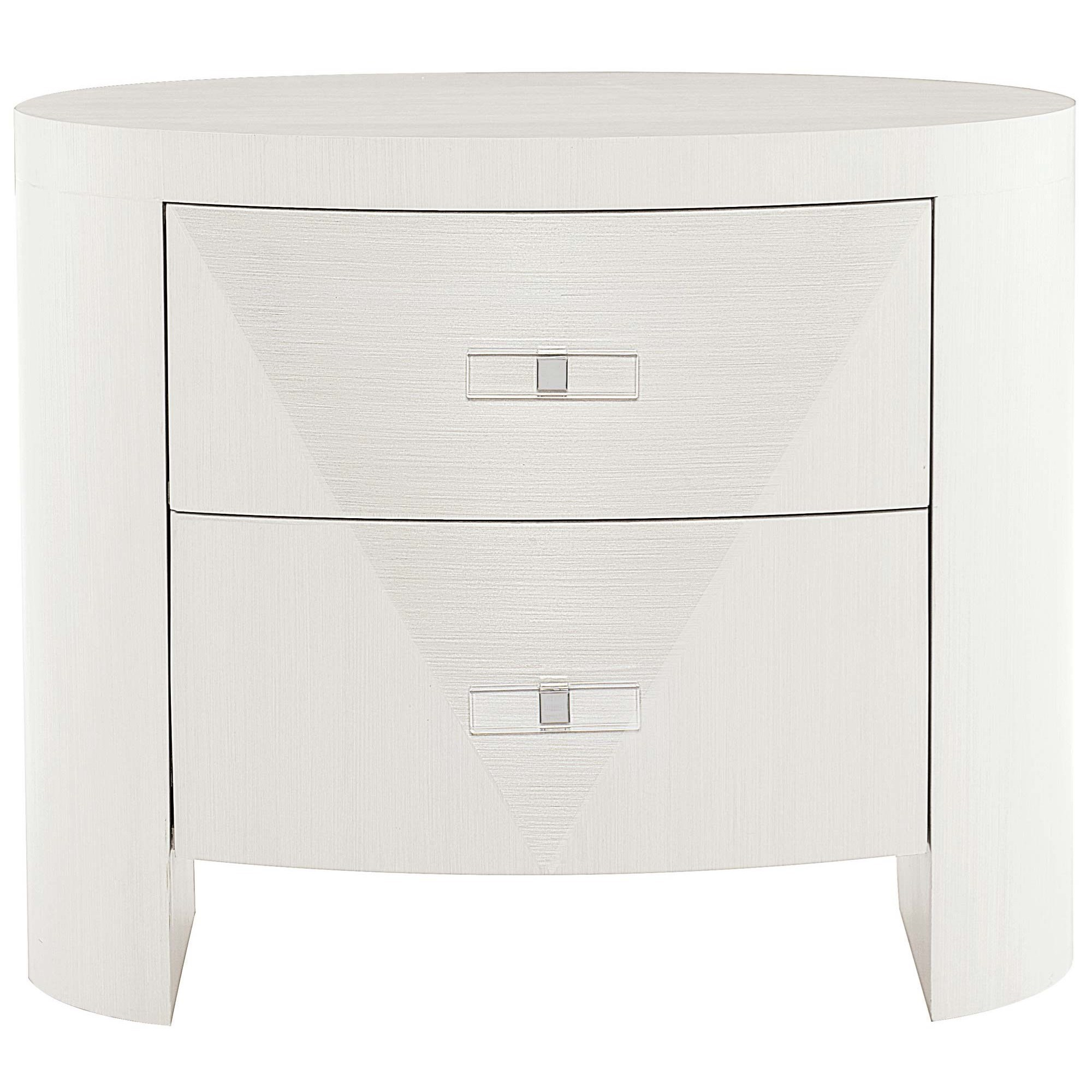 Contemporary Oval Nightstand with 2 Drawers