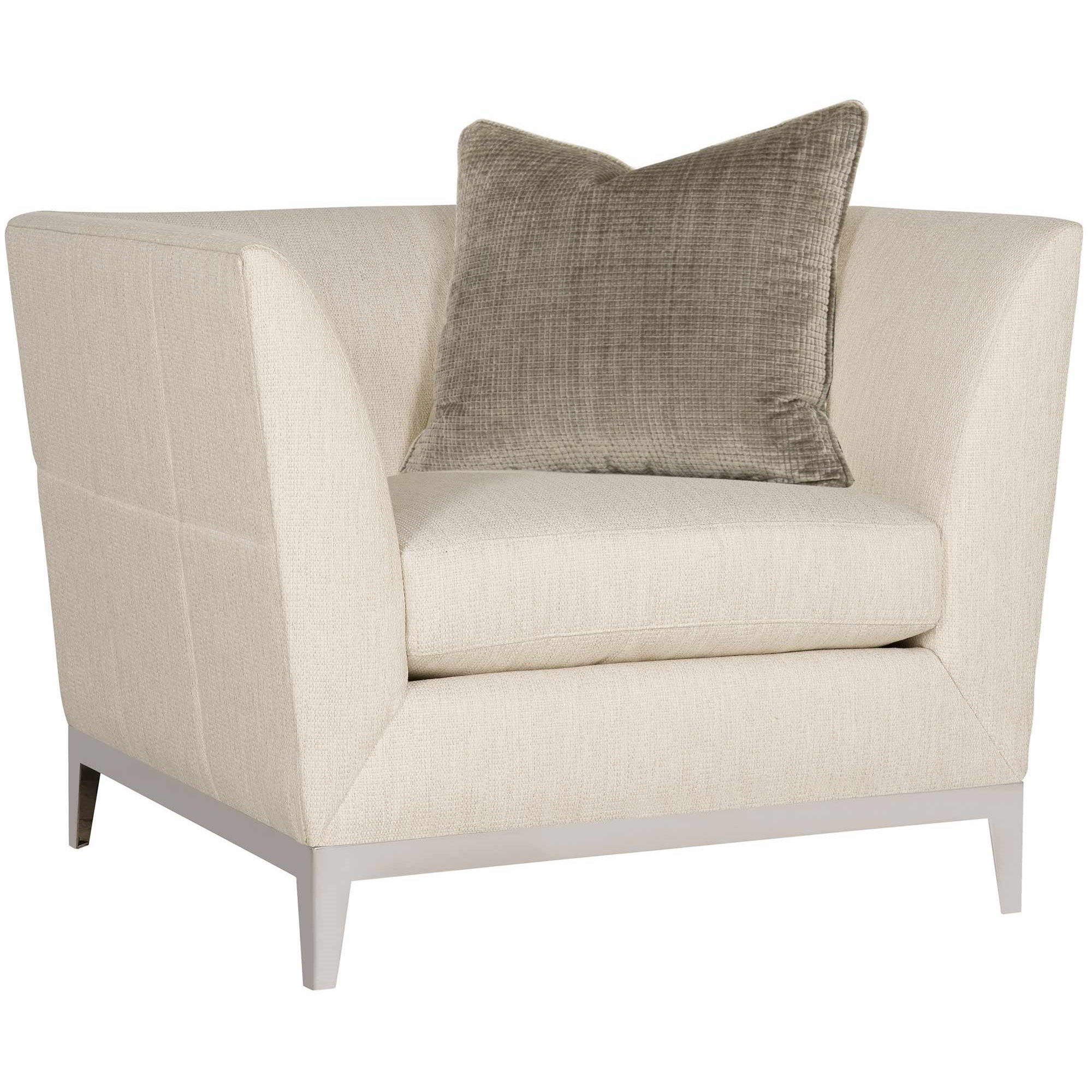 Bernhardt Beck Contemporary Tuxedo Back Chair With Stainless Steel Trim