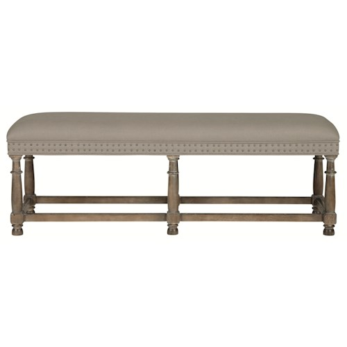 Bernhardt Belgian Oak Modern Traditional Bench with Nail Head Trim
