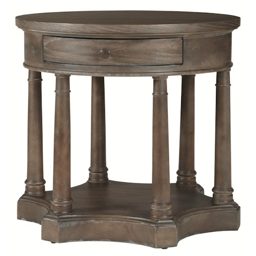 Bernhardt Belgian Oak Round Chairside Table Made of White Oak Veneers