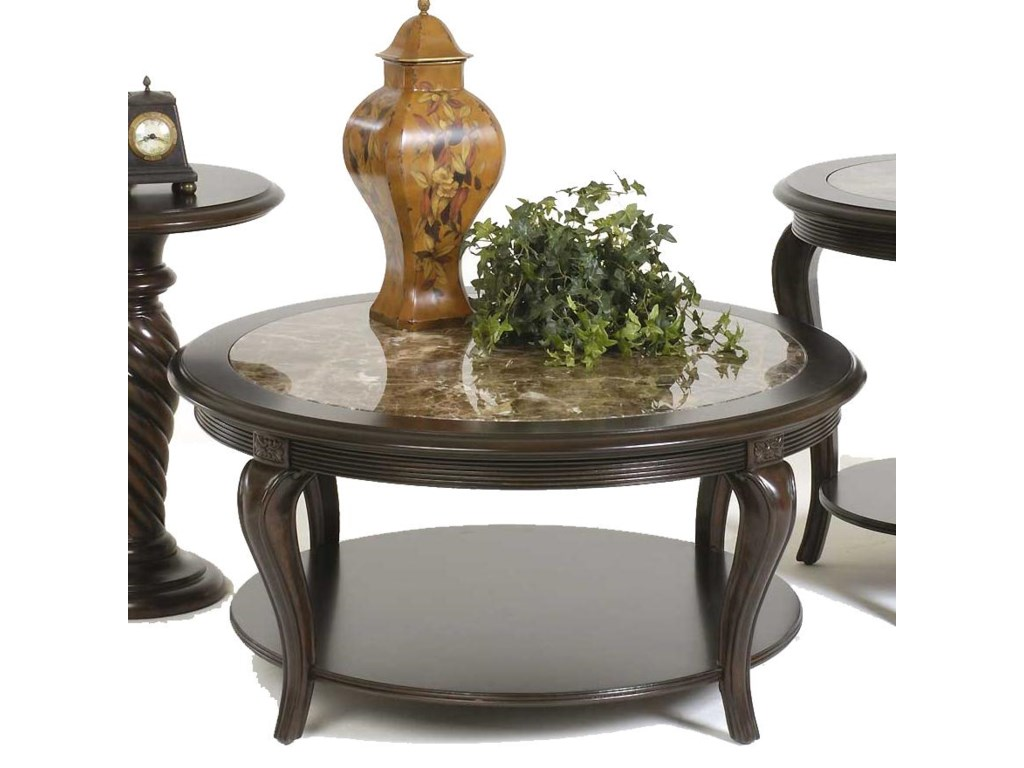 Bernhardt Belmont 40 Round Tail Table With Marble Inset Top