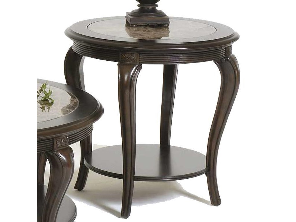 Bernhardt BelmontRound Lamp Table with Marble Inset