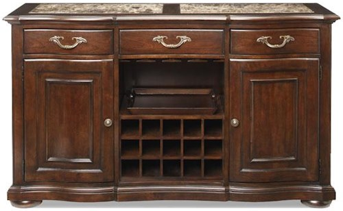 Bernhardt Belmont Buffet With Wine Rack And Marble Inset Top